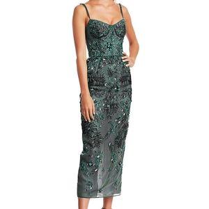 NWT$6290 J. MENDEL Leaf Sheer Silk Cocktail Dress